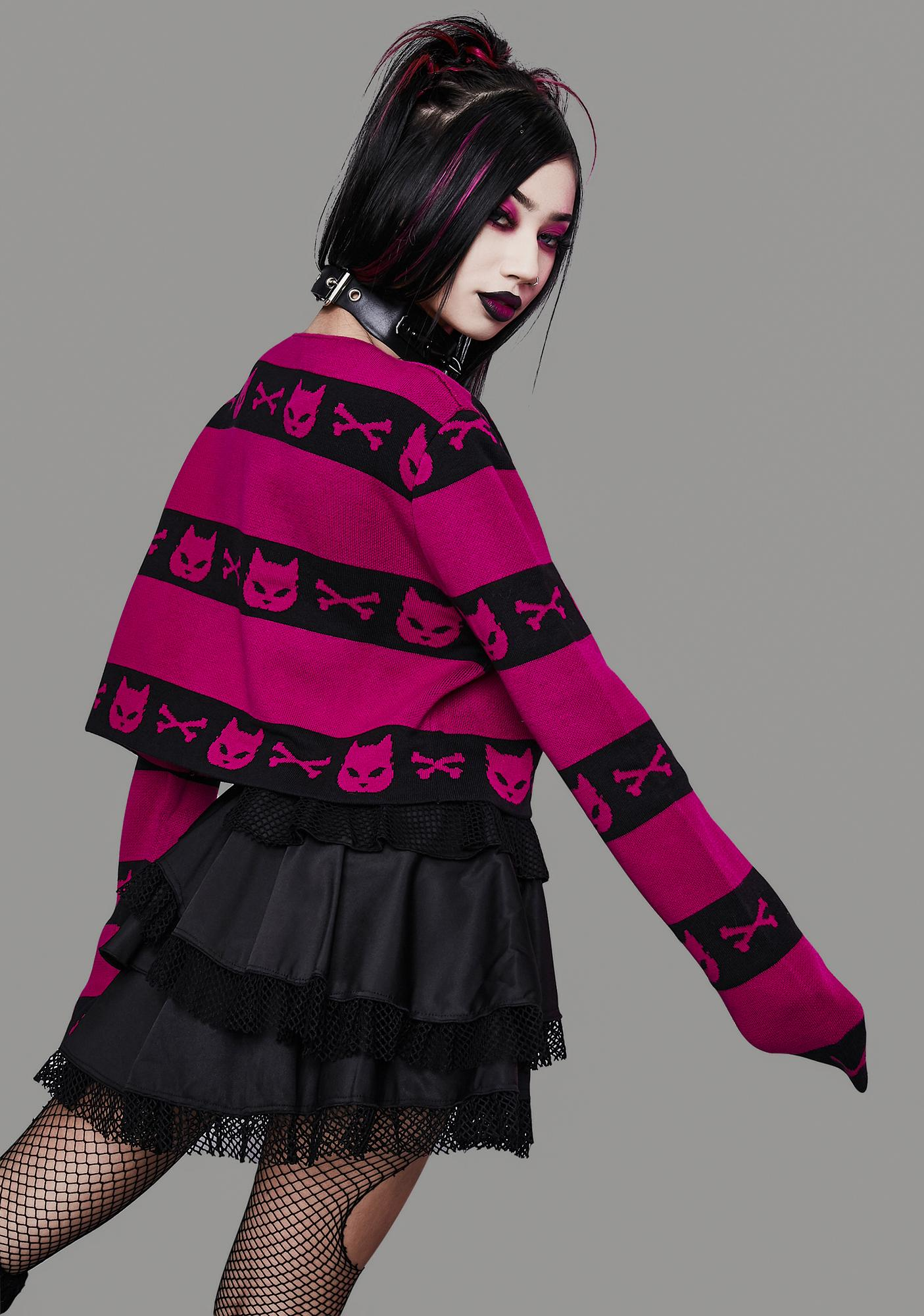 Widow Magenta Super Creep Striped Sweater