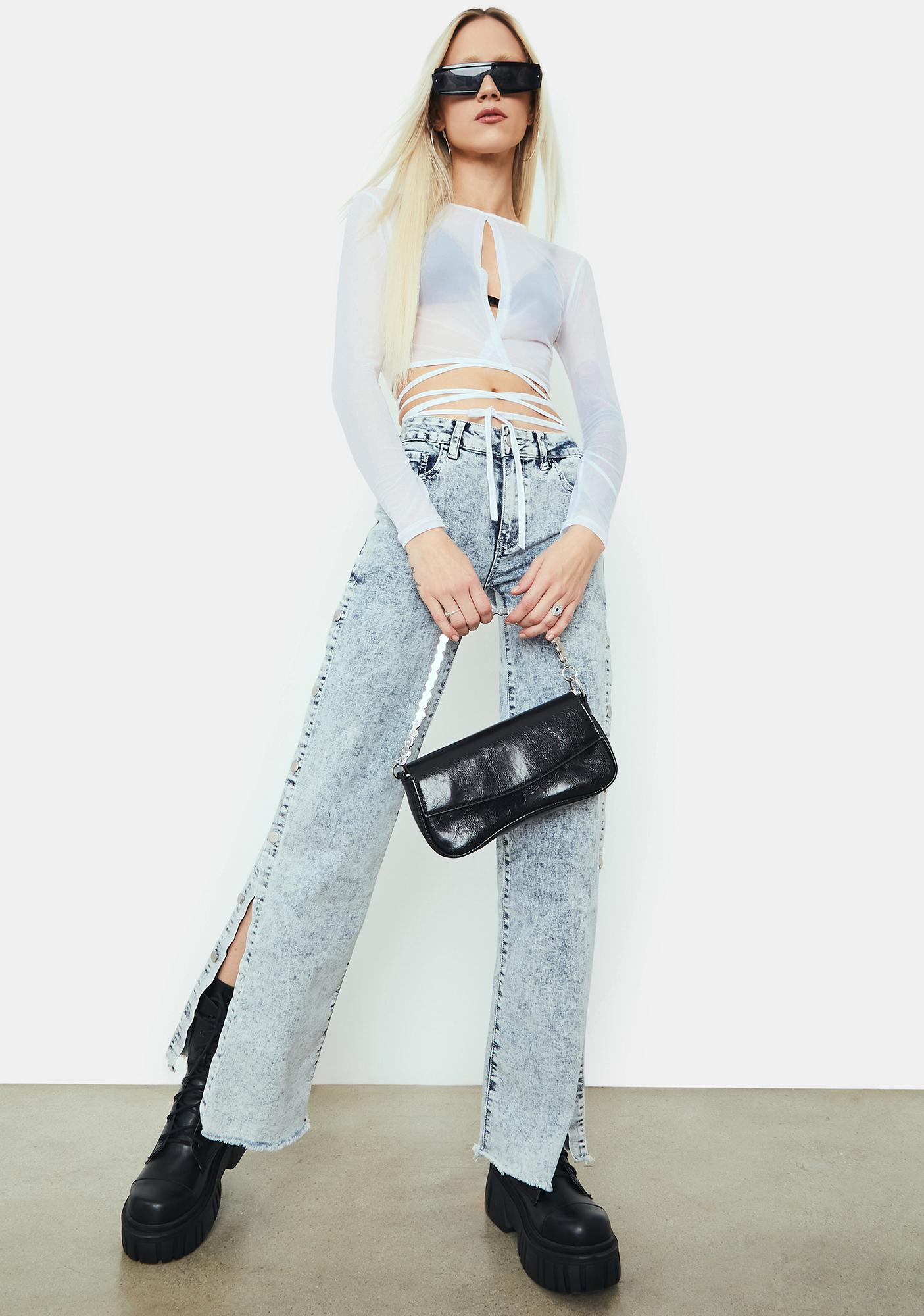 Blanc Invade Your Space Mesh Crop Top