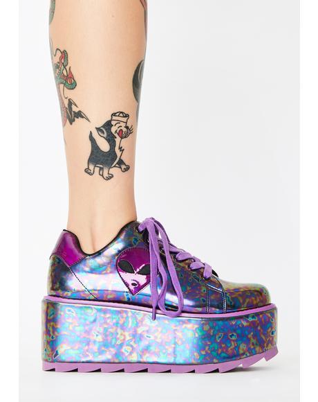Purple Slick Lala Alien Platform Sneakers