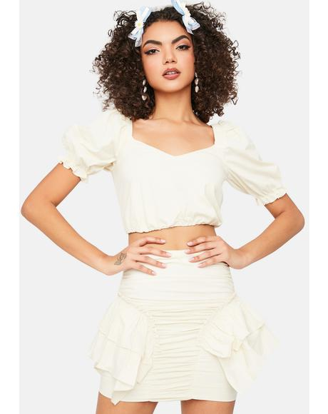Ivory Hot N Cold Puff Sleeve Ruffle Mini Skirt Set