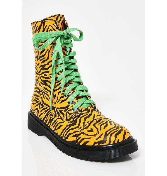 Current Mood Eye Of The Tiger Combat Boots