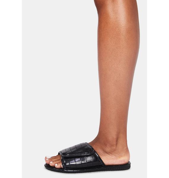 Black Let'z Go Velcro Slides