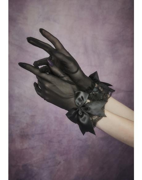 Enchantress Eve Satin Bow & Lace Gloves