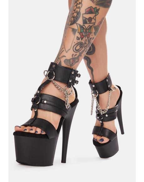 Losin' Control Chain Platform Heels