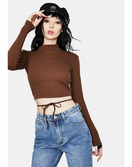 Quelia Cocoa Rib Crop Top