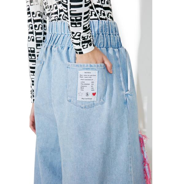 Little Sunny Bite Destroyed Pinky Wide Leg Pants