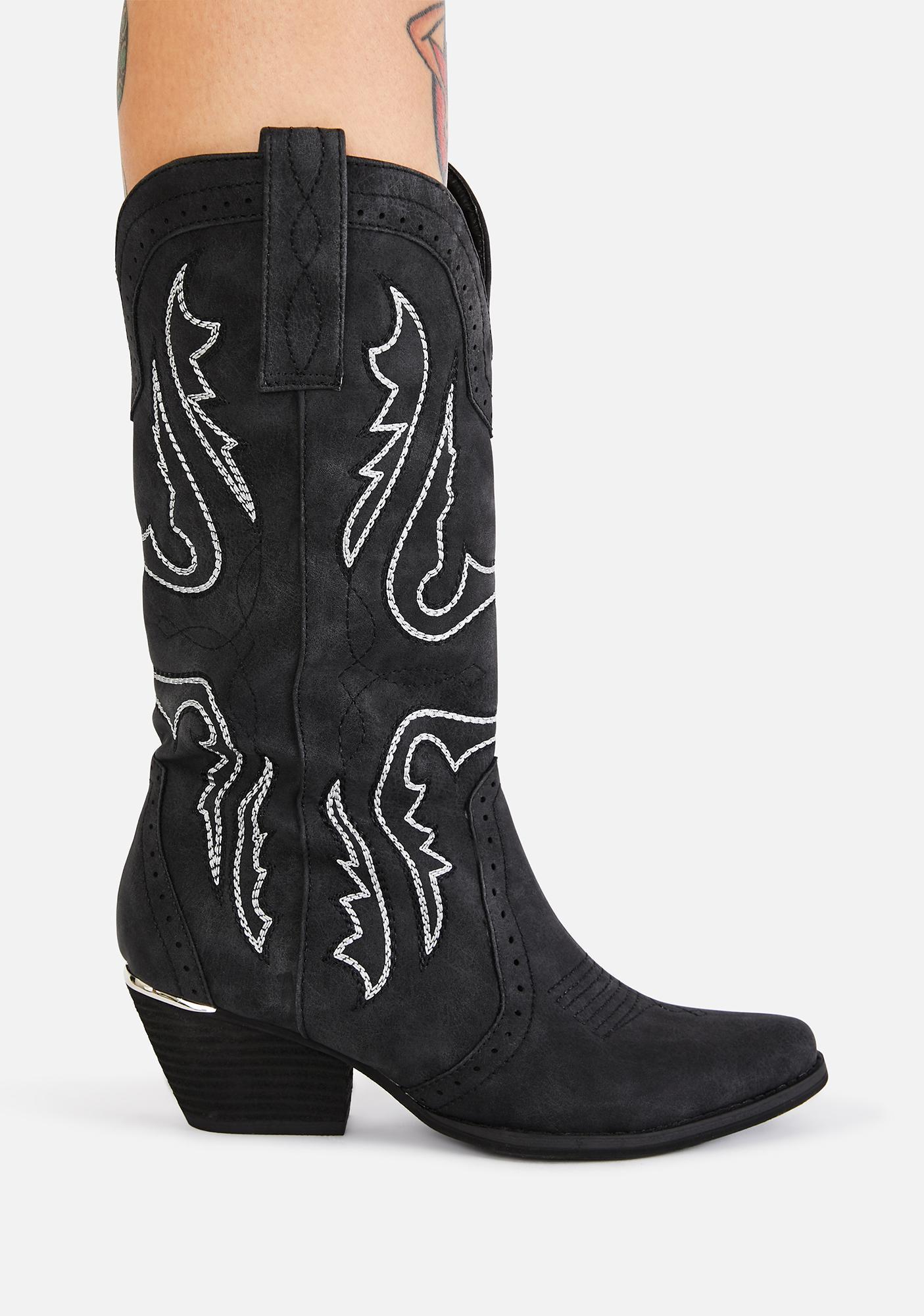Volatile Shoes Black Westlake Cowboy Boots