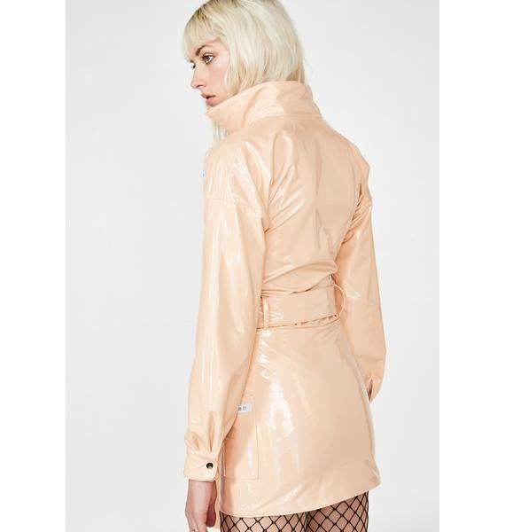 My Mum Made It Patent Nude Reflect Belted Dress