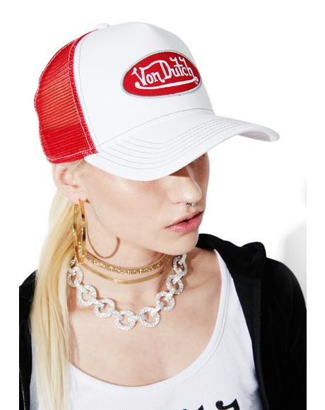 White Logo Trucker Hat