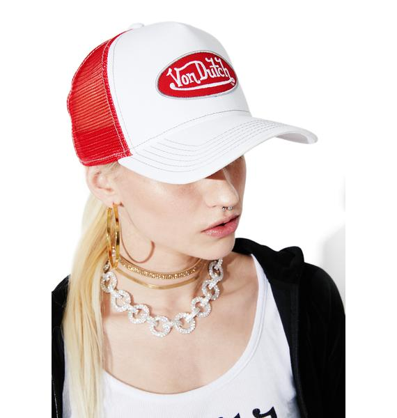Von Dutch White Logo Trucker Hat