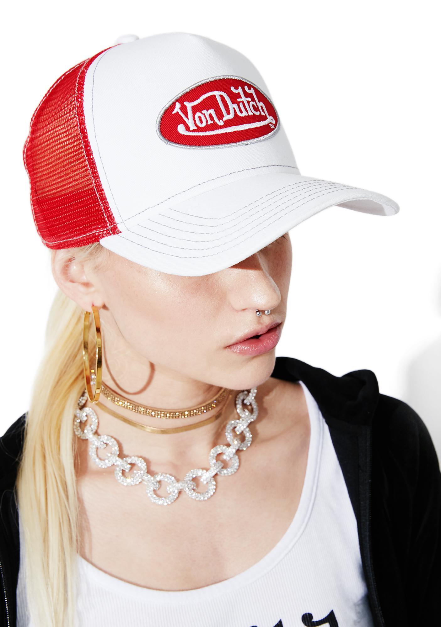 8005f912cfadb9 Von Dutch White Logo Trucker Hat | Dolls Kill
