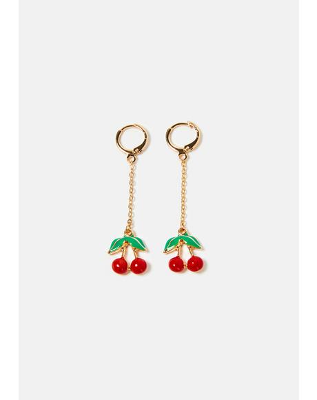 Cherry Hearts Chain Drop Earrings