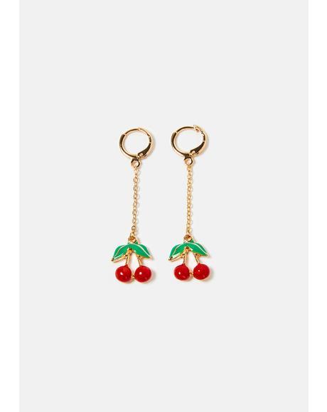 Cherry Hearts Chain Drop Earrings