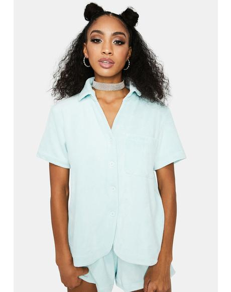 Coco Terry Button Up Top