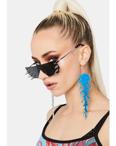 Aqua Mad Blazed Drop Earrings