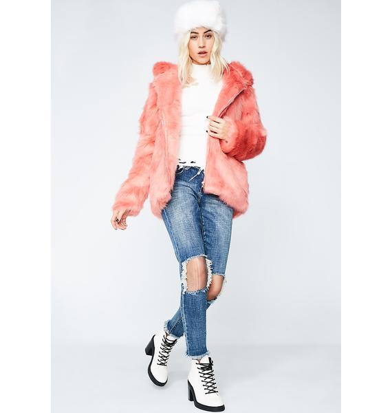 Glamorous Peach Fuzz Fur Zip Jacket