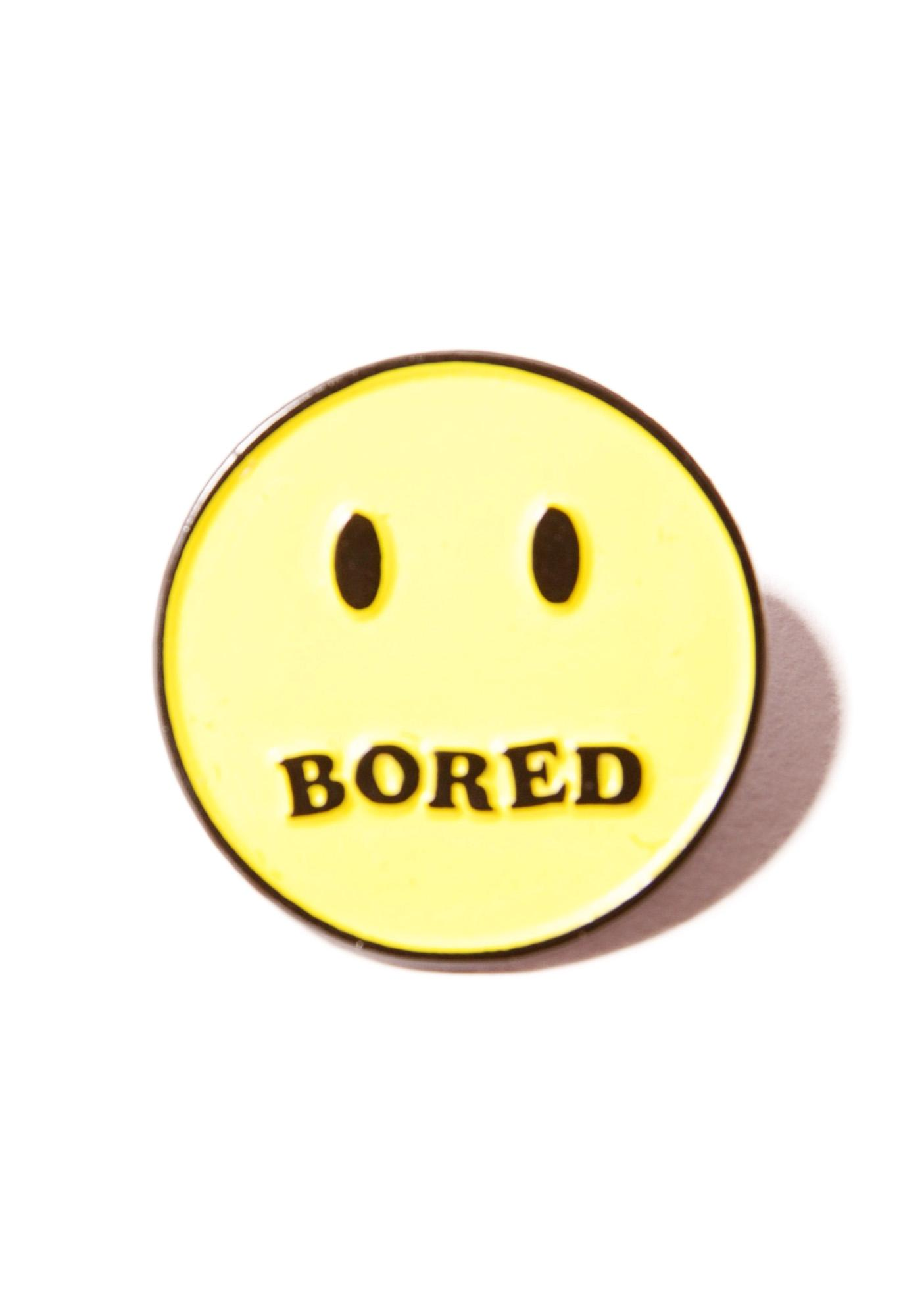 Local Heroes Bored Smiley Pin