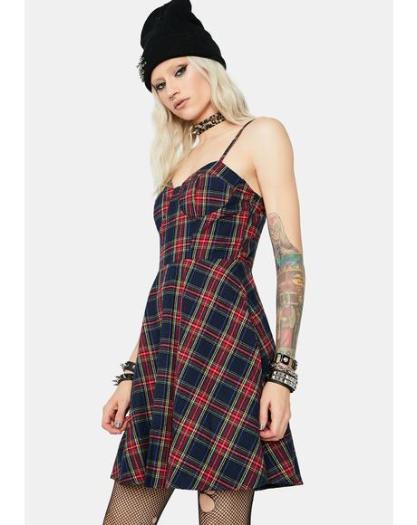 Navy Livelong Plaid Mini Dress