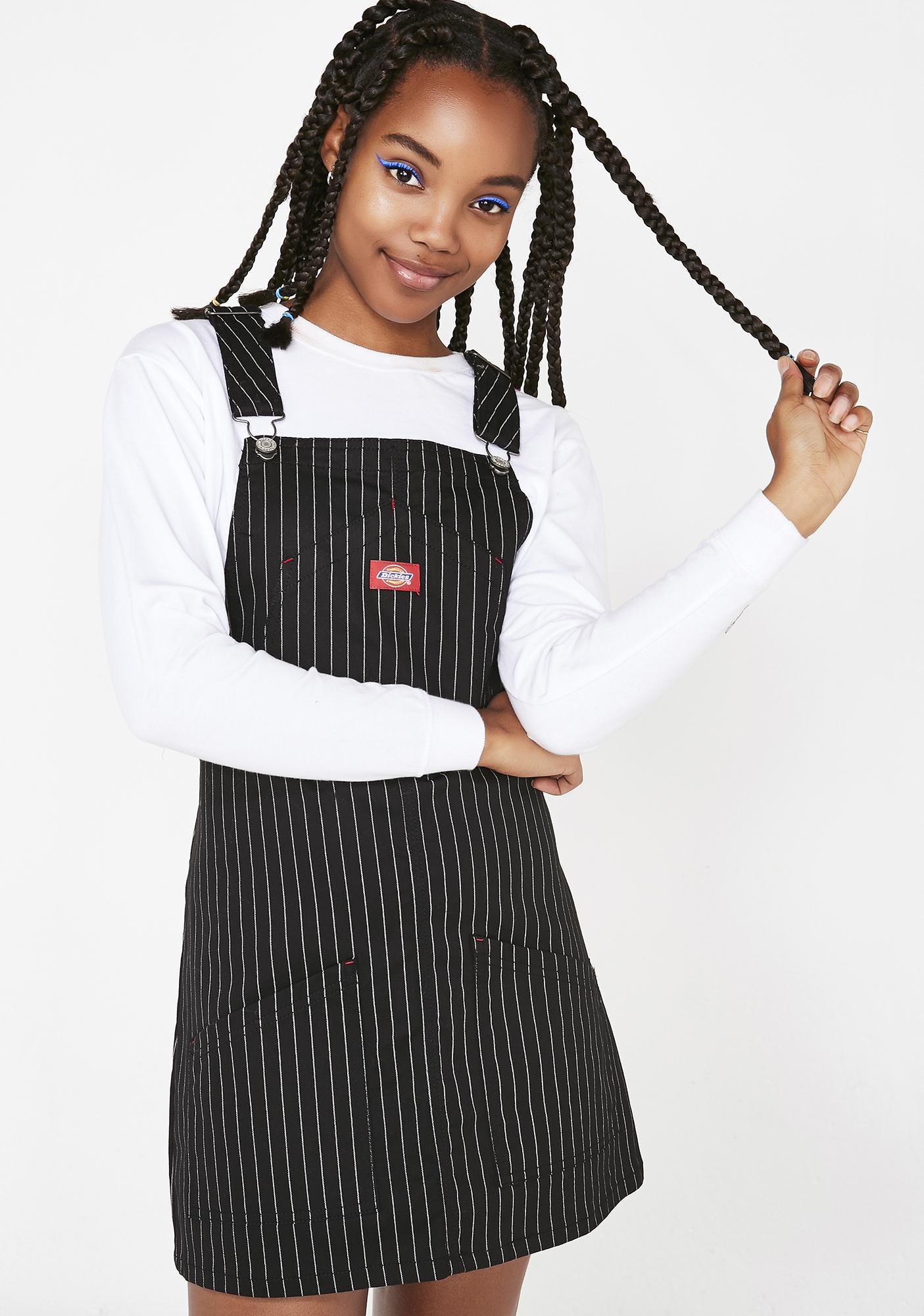 Dickies Girl Pinstripe Overall Dress