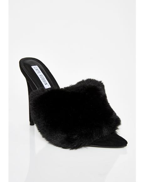 Midnight Furlicious Furry Mules