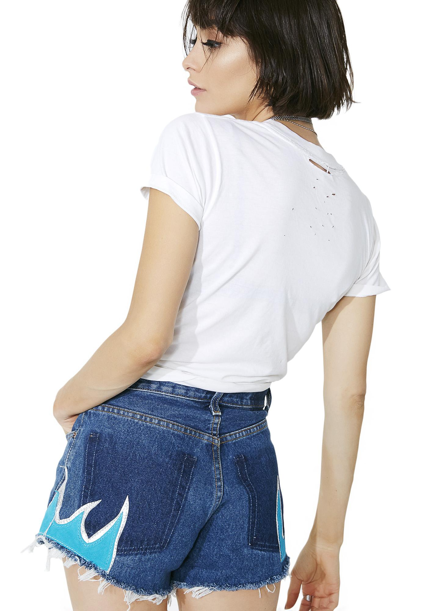 American Vintage Blue Flame Shorts