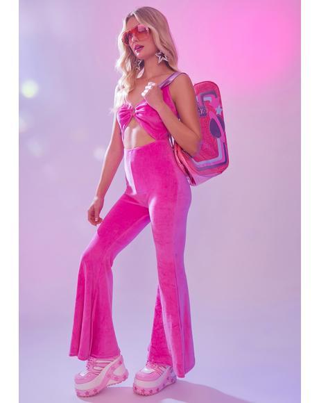 Totally Retro Velour Cutout Jumpsuit