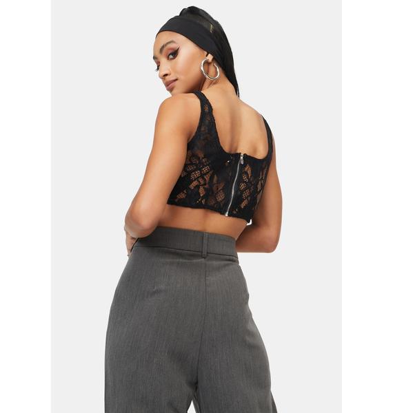 4TH & RECKLESS Black Heaven Lace Corset Crop Top