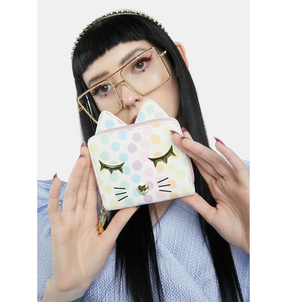 Betsey Johnson Polka Dot Kitty Kitsch Zip Around Wallet