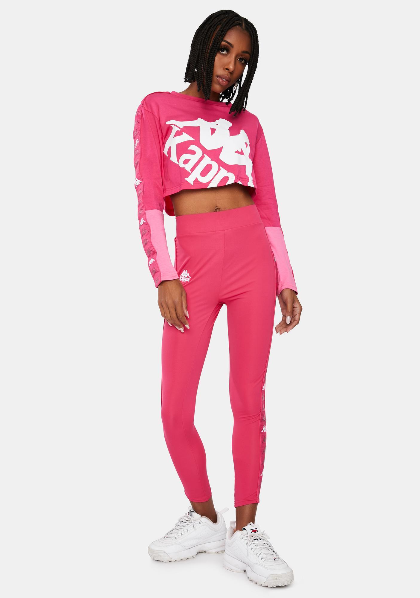 Kappa Pink 222 Banda Baloys Long Sleeve Crop Top