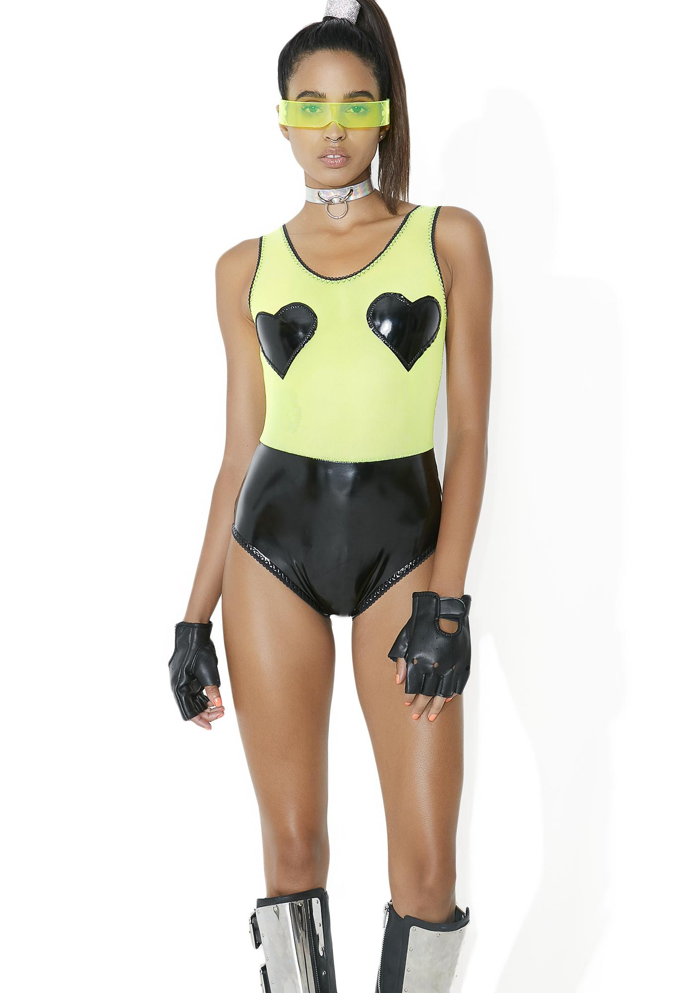 Bedroom Behavior Lingerie Neon Valentine Latex Bodysuit