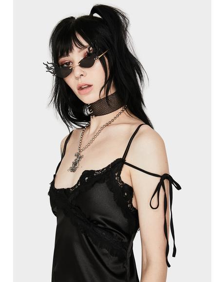 Black Tails Silky Dress