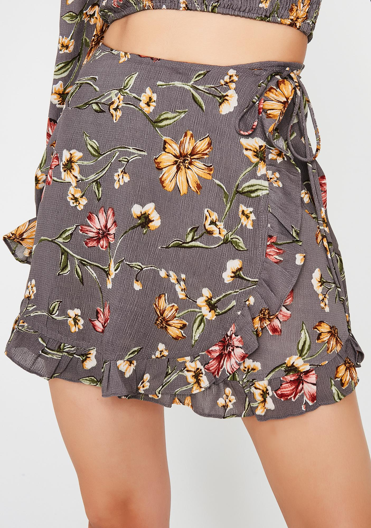 What The Flower Wrap Skirt