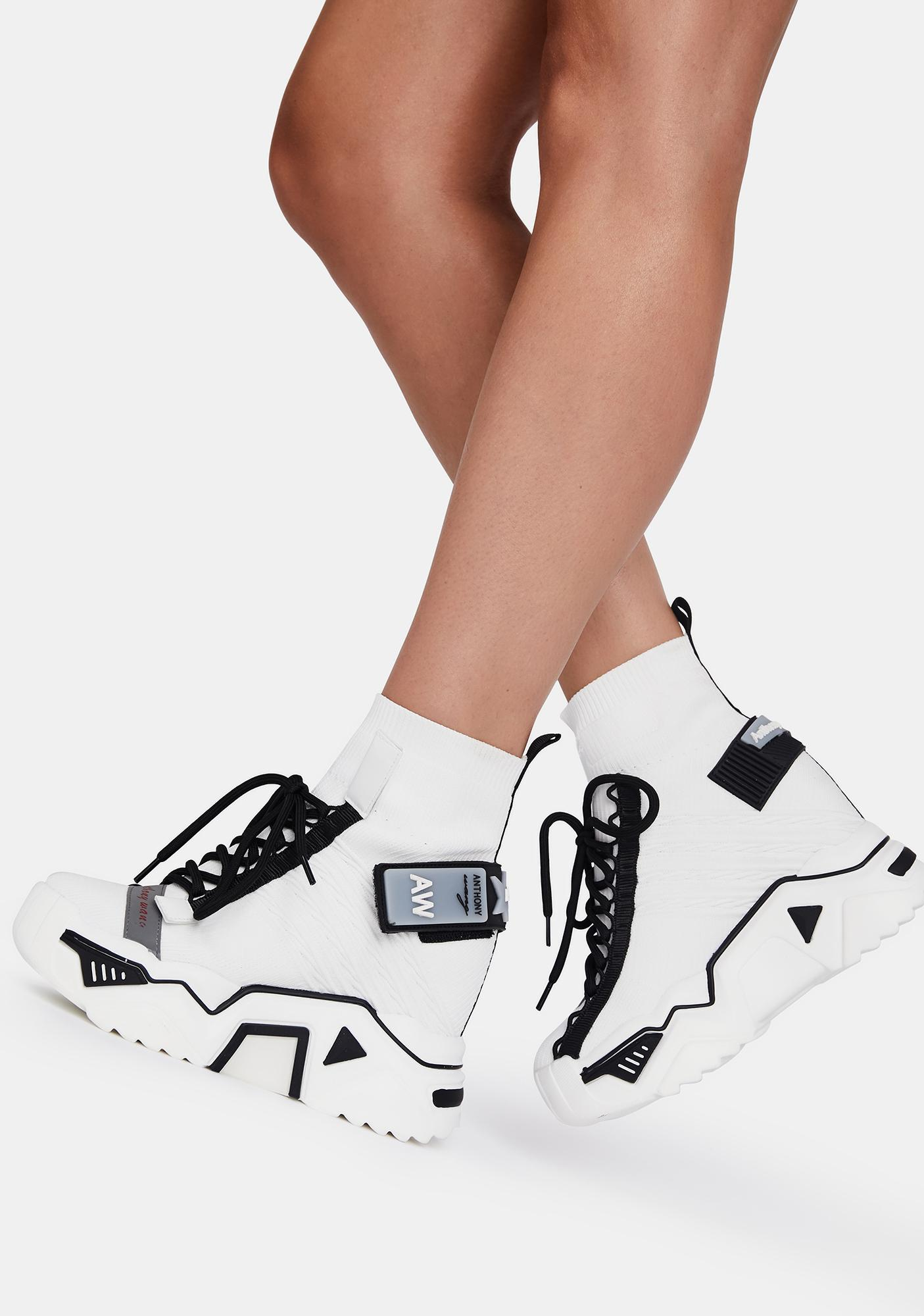 Anthony Wang White Clout Chasin' Platform Sneakers