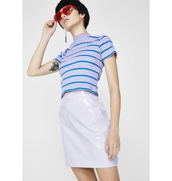 Lazy Oaf Lilac Vinyl Skirt