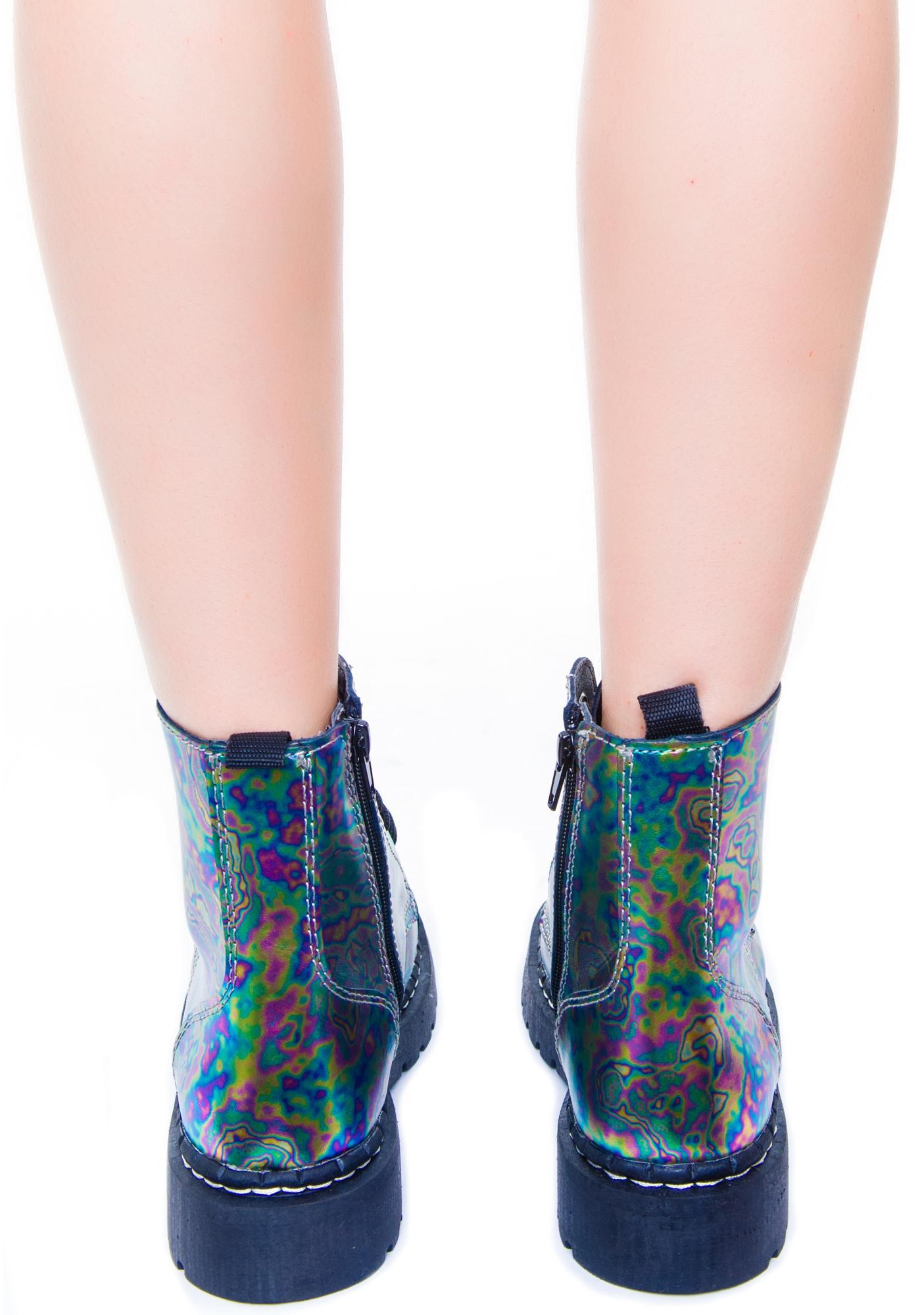 T.U.K. Oil Slick Leather 7 Eye Boot