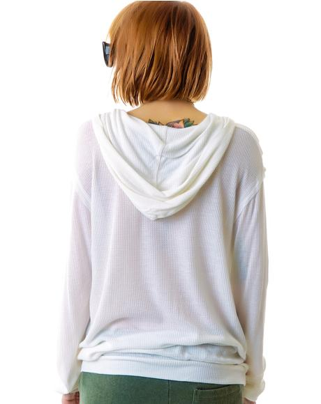 Slit Neck Hooded Sweatshirt