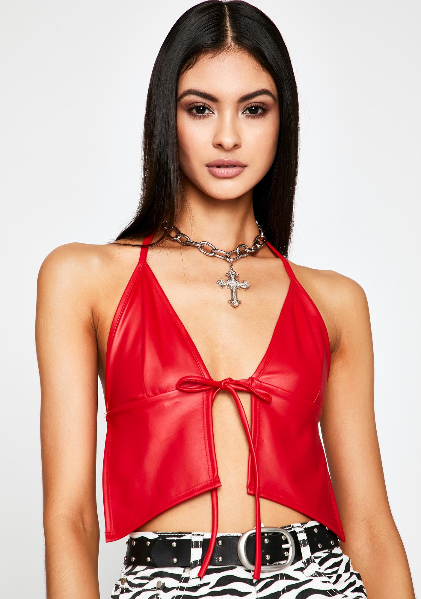 Fire Pain Proof Halter Crop Top by Dolls Kill