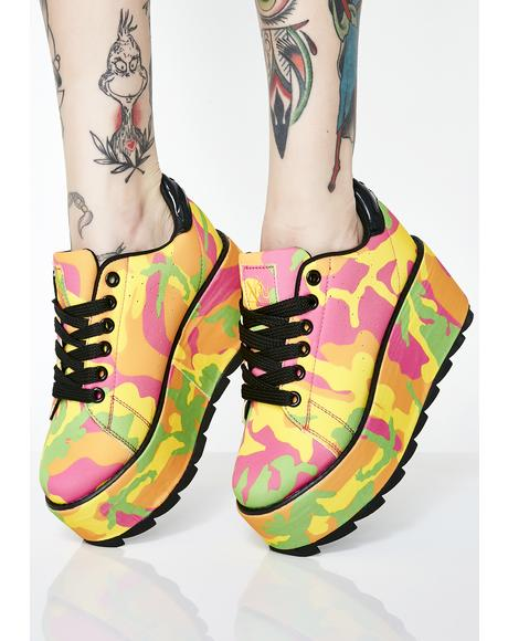 Lala Neon Camo Platform Sneakers