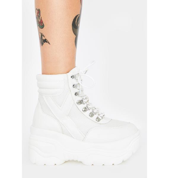 Y.R.U. White Matrixx Hi 2 Platform Sneakers