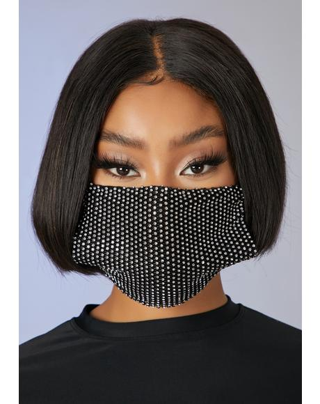 Respect The Drip Rhinestone Face Mask