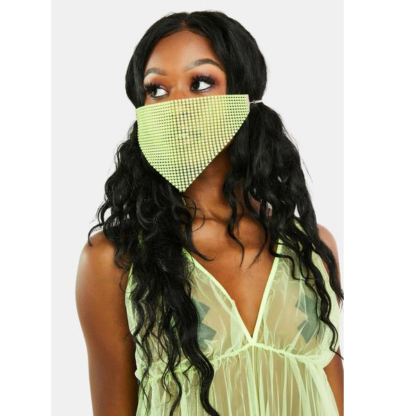 Emerald Pretty Protection Rhinestone Face Mask