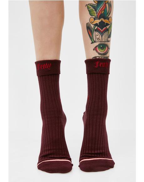 Wine Fenty Prep Socks
