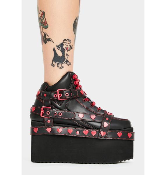 Y.R.U. Qozmo Bondage Red Heart Platform Sneakers