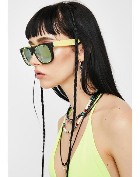 Neon Yellow '80s Fun Sunglasses