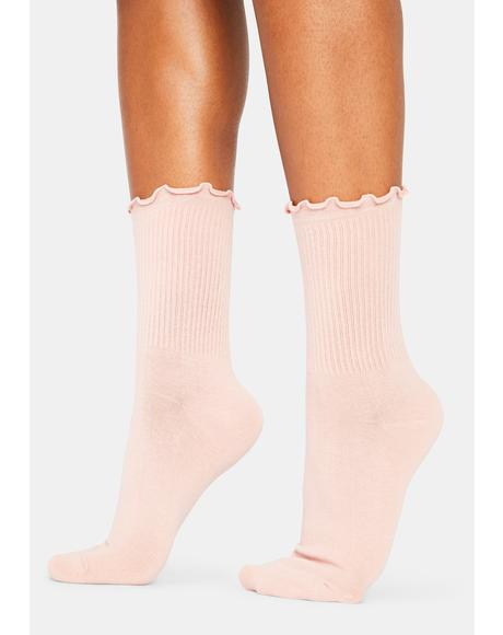 Blush Ruffled Up Crew Socks