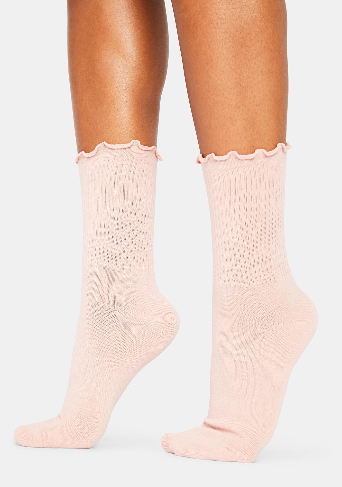 Blush Ruffled Up Crew Socks