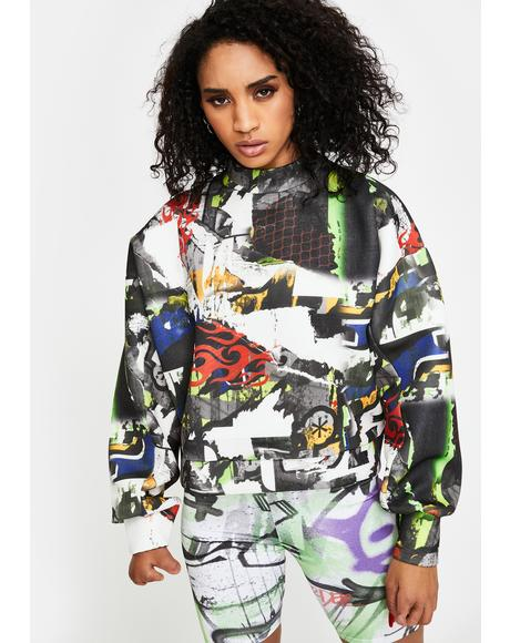 Multi Graffiti Print Crewneck