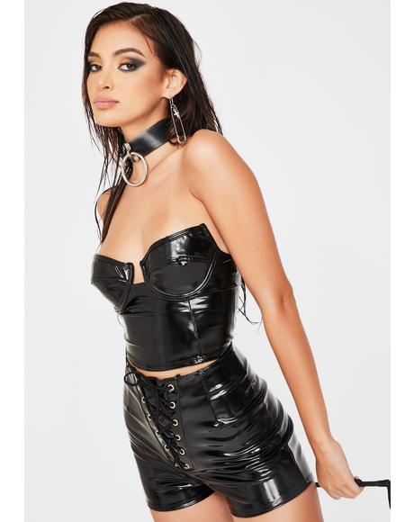 Sleek Support Vinyl Bustier Top
