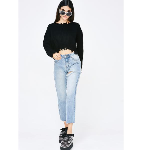Onyx No Priorities Cropped Sweater