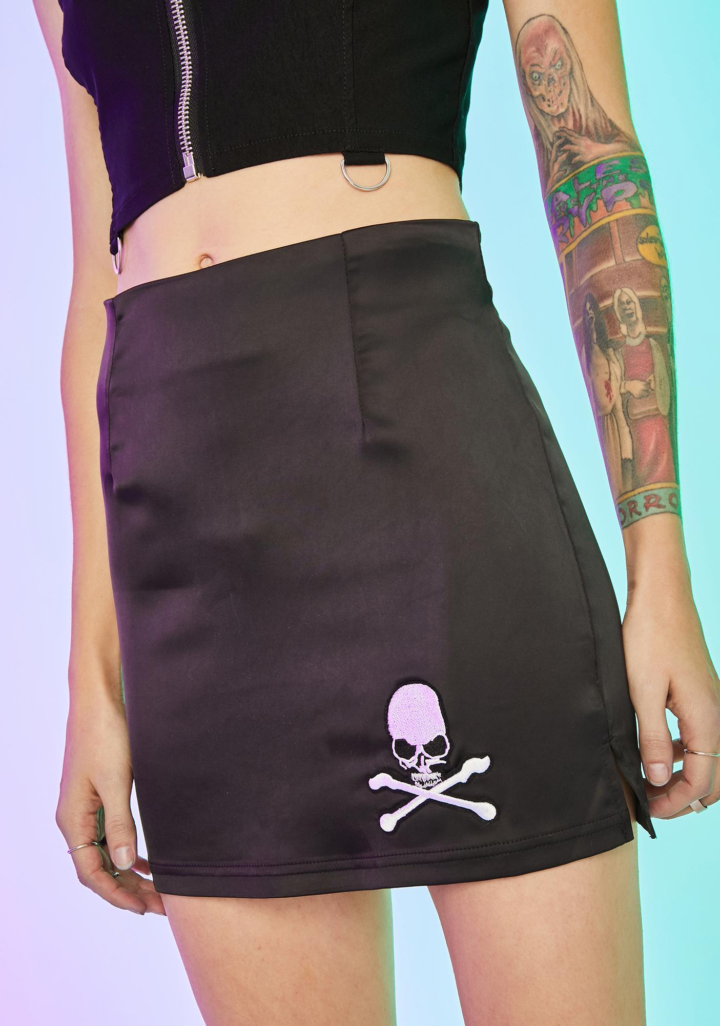 Current Mood Walk The Plank Satin Skirt